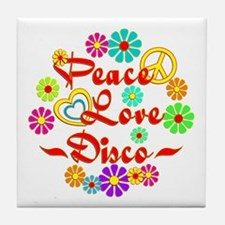 Peace Love Disco Tile Coaster