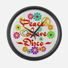 Peace Love Disco Large Wall Clock