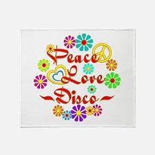 Peace Love Disco Throw Blanket