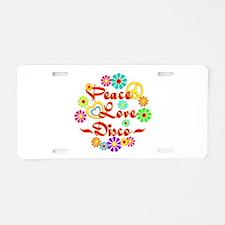 Peace Love Disco Aluminum License Plate