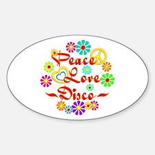 Peace Love Disco Sticker (Oval)
