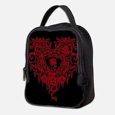 Ornate Red Gothic Heart Neoprene Lunch Bag