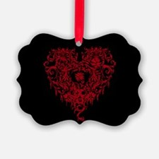 Ornate Red Gothic Heart Ornament