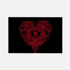 Ornate Red Gothic Heart Rectangle Magnet