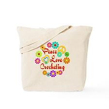 Peace Love Crocheting Tote Bag