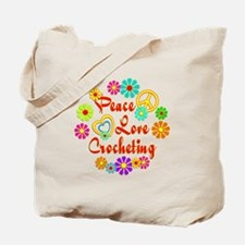 Peace Love Crocheting Tote Bag