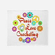 Peace Love Crocheting Throw Blanket