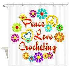 Peace Love Crocheting Shower Curtain
