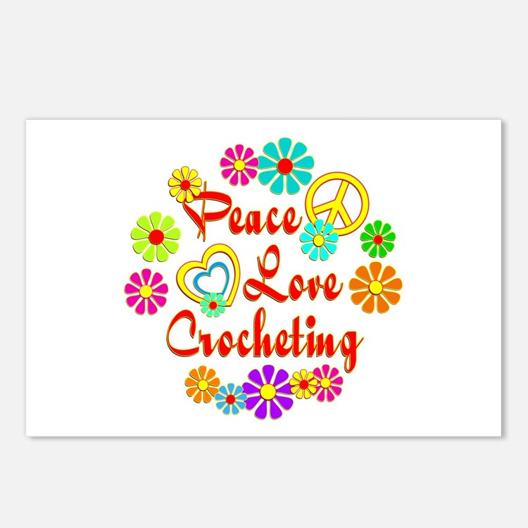 Peace Love Crocheting Postcards (Package of 8)