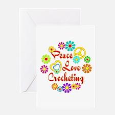 Peace Love Crocheting Greeting Card