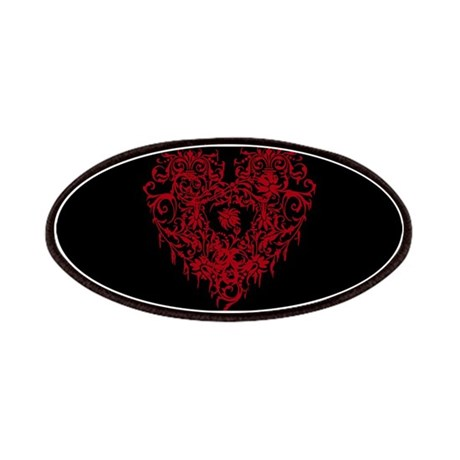Ornate Red Gothic Heart Patches