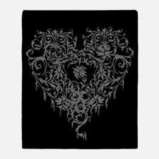 Ornate Grey Gothic Heart Throw Blanket