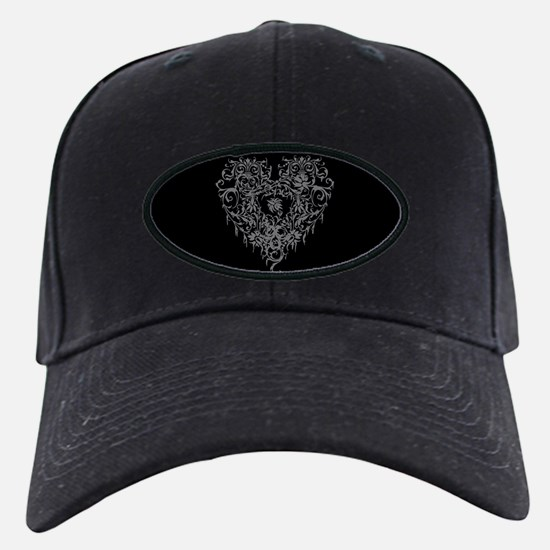 Ornate Grey Gothic Heart Baseball Hat