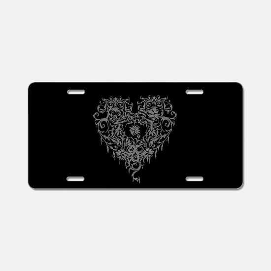 Ornate Grey Gothic Heart Aluminum License Plate