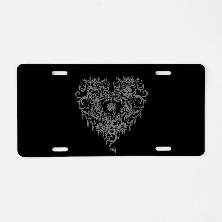 Ornate Grey Gothic Heart Aluminum License Plate