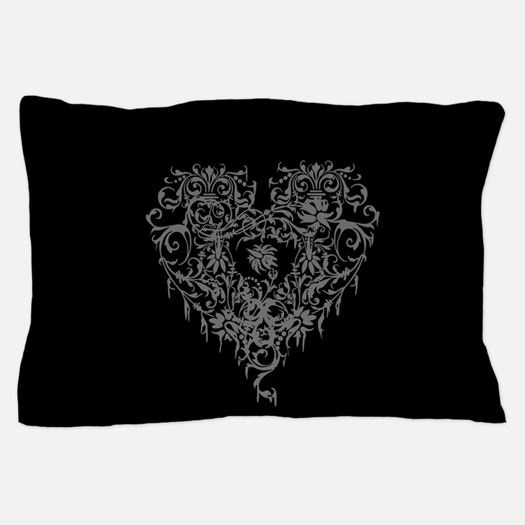 Ornate Grey Gothic Heart Pillow Case