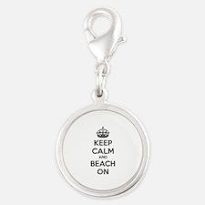 Keep calm and beach on Silver Round Charm