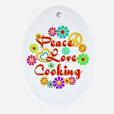 Peace Love Cooking Ornament (Oval)