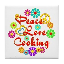 Peace Love Cooking Tile Coaster