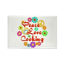Peace Love Cooking Rectangle Magnet (100 pack)