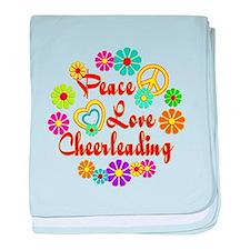 Peace Love Cheerleading baby blanket