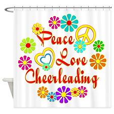 Peace Love Cheerleading Shower Curtain