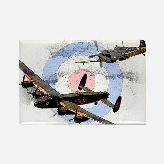 Spitfire and Lancaster Rectangle Magnet