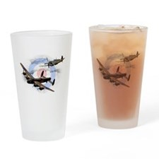 Spitfire and Lancaster Drinking Glass
