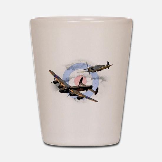 Spitfire and Lancaster Shot Glass