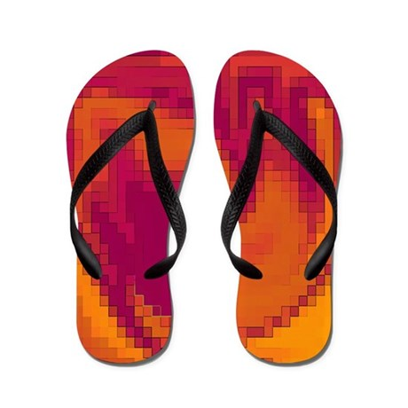 Orange and Maroon Flip Flops