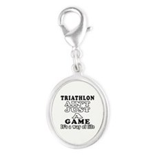Triathlon ain't just a game Silver Oval Charm