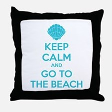 Keep calm and go to the beach Throw Pillow