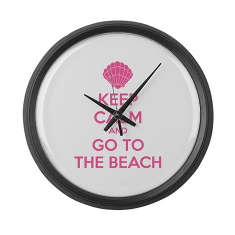 Keep calm and go to the beach Large Wall Clock