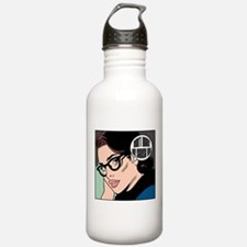 Retro Librarian Humor Water Bottle