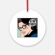 Retro Librarian Humor Ornament (Round)