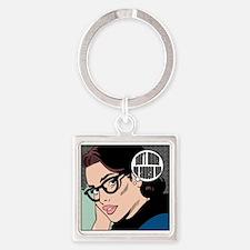 Retro Librarian Humor Square Keychain