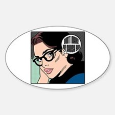 Retro Librarian Humor Sticker (Oval)