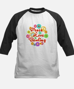 Peace Love Bowling Kids Baseball Jersey