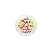 Peace Love Bowling Mini Button