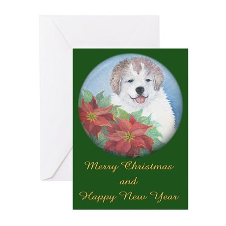 Great Pyrenees Cards,pk of 10,Christmas Puppy