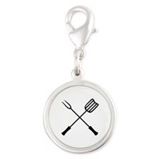 Barbecue Silver Round Charm