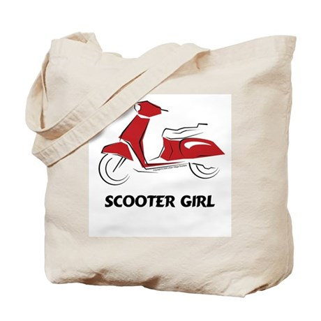 Scooter Girl (Red) Tote Bag