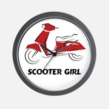 Scooter Girl (Red) Wall Clock
