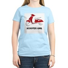 Scooter Girl (Red) Women's Pink T-Shirt