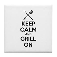 Keep calm and grill on Tile Coaster
