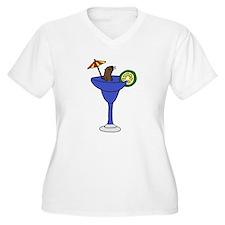 Sea Otter in Margarita Cartoon Plus Size T-Shirt