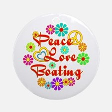 Peace Love Boating Ornament (Round)