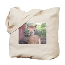 Alpaca Giving Raspberries Tote Bag