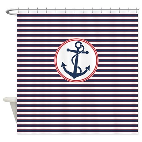 Anchor and Stripes Shower Curtain