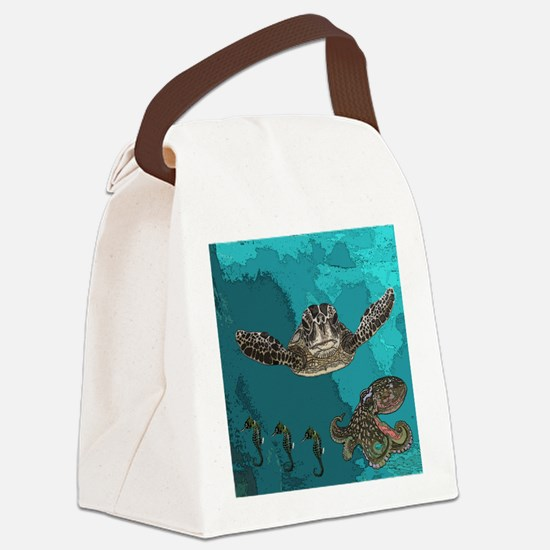 Sea creatures Canvas Lunch Bag